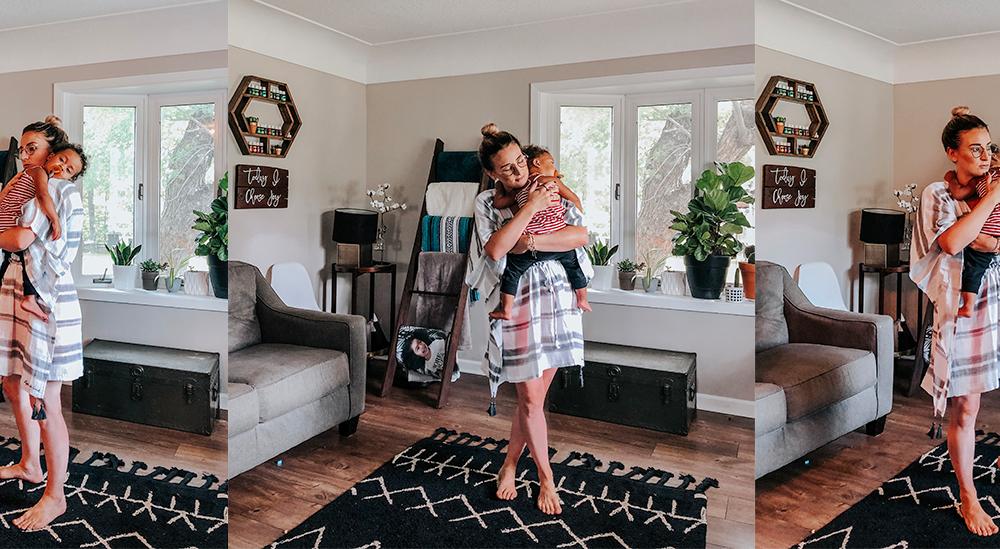 Meghan Yancy holding her child