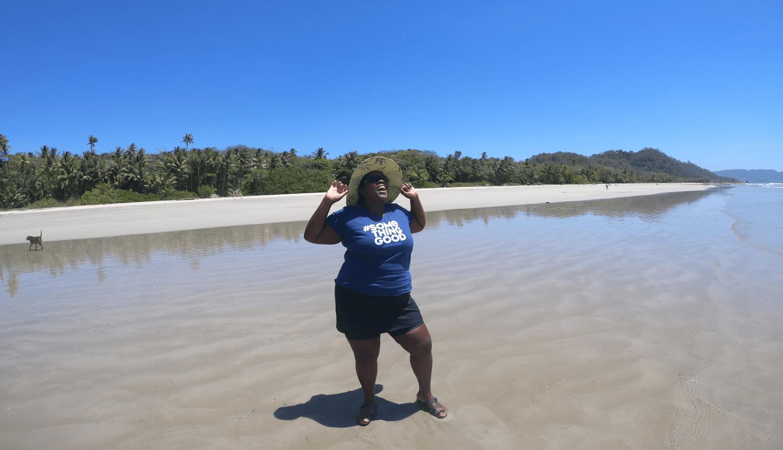 Mirna standing in the ocean