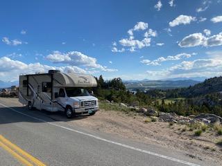 the RV stopped roadside