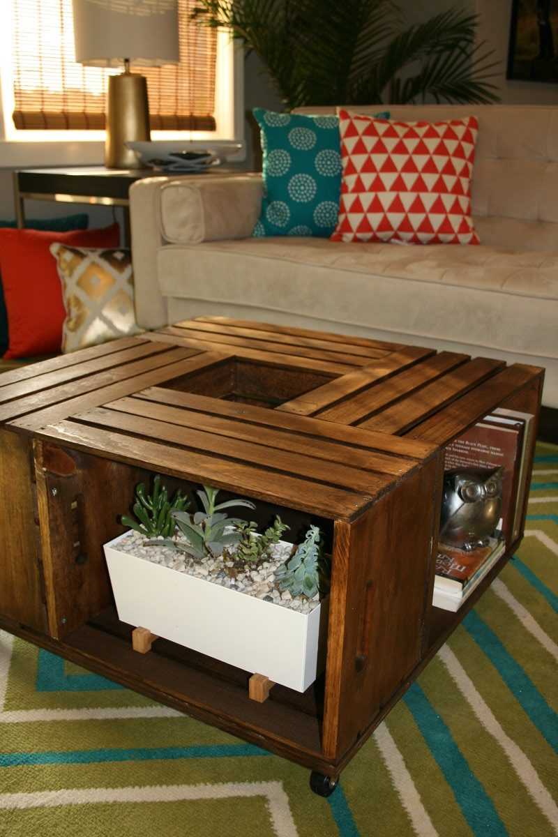 DIY Wooden Wine Crate Coffee Table - Leawood Lifestyle ...