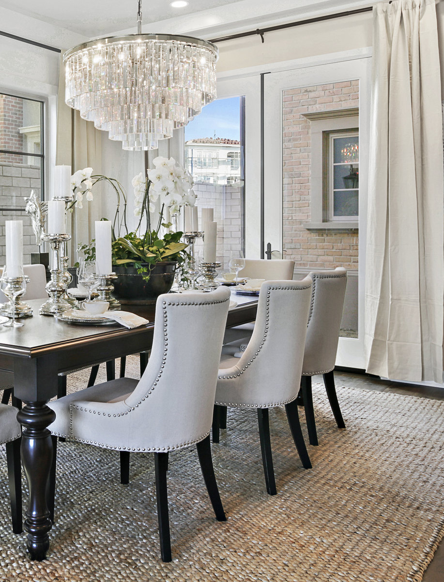 Photo Formal Dining Room White And Beige Palette Paired With Natural Linen Fabric For Upholstery And Window Treatments Create A Soft Yet Dramatic Look Ocean To Ranch Lifestyle Magazine
