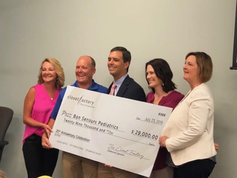 Closet Factory Presents Check to Bon Secours for $29,000 7