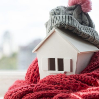 Home wrapped in scarf for protection from cold