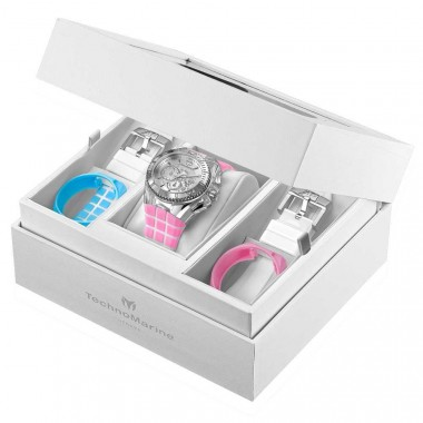 TechnoMarine Lady Set White/Pink/Blue Dive Watch