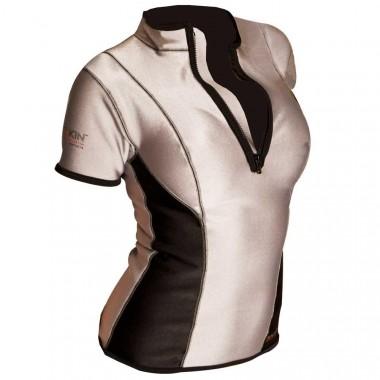 Sharkskin Womens Zip Front Short Sleeve Top