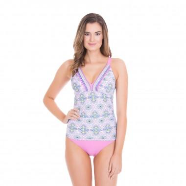 Cabana Life Side-Ruched Tankini +50 UV Structured Swim Top (Women's)