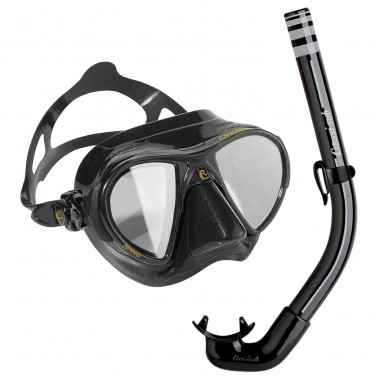 Cressi Nano Black HD Mirrored Lens Mask and America Snorkel Combo