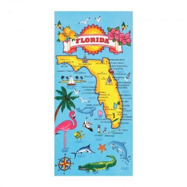 Florida Map Beach Towel