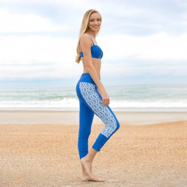 Cabana Life +50 UPF Ruched Zipper Swim Leggings (Women's)