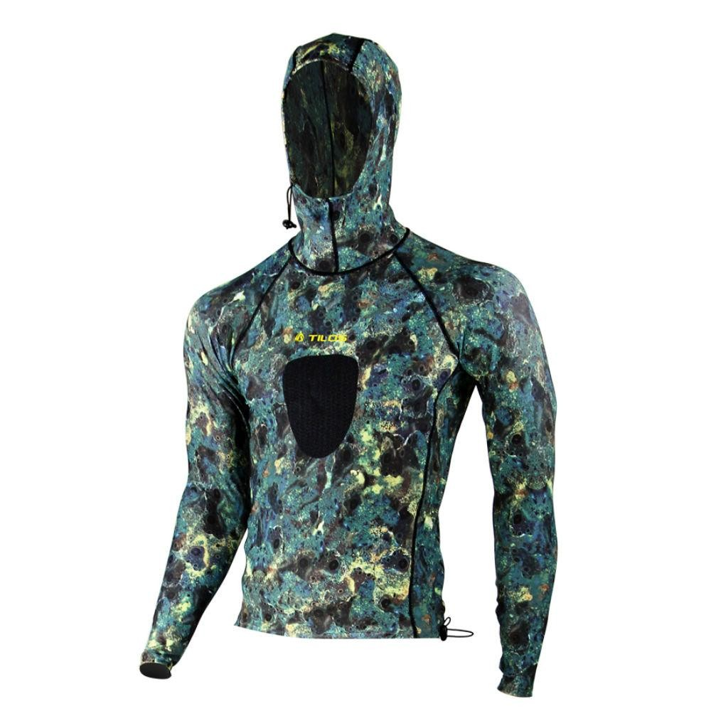 Tilos Brown Camo Hooded Spearfishing Lycra Top