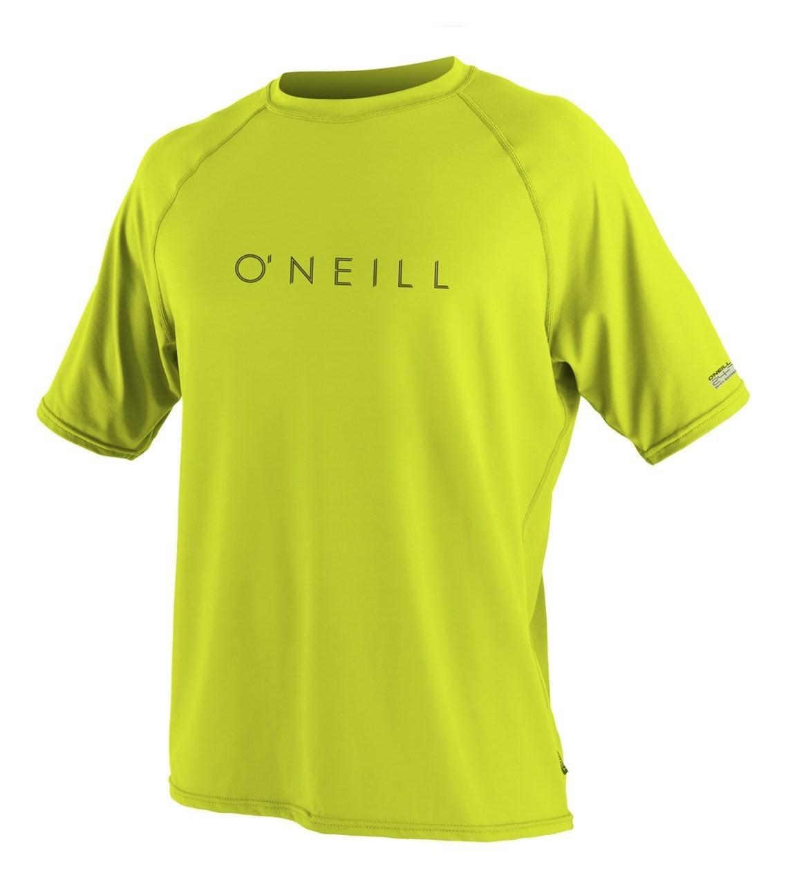 oneill men's short sleeve rash guard lime