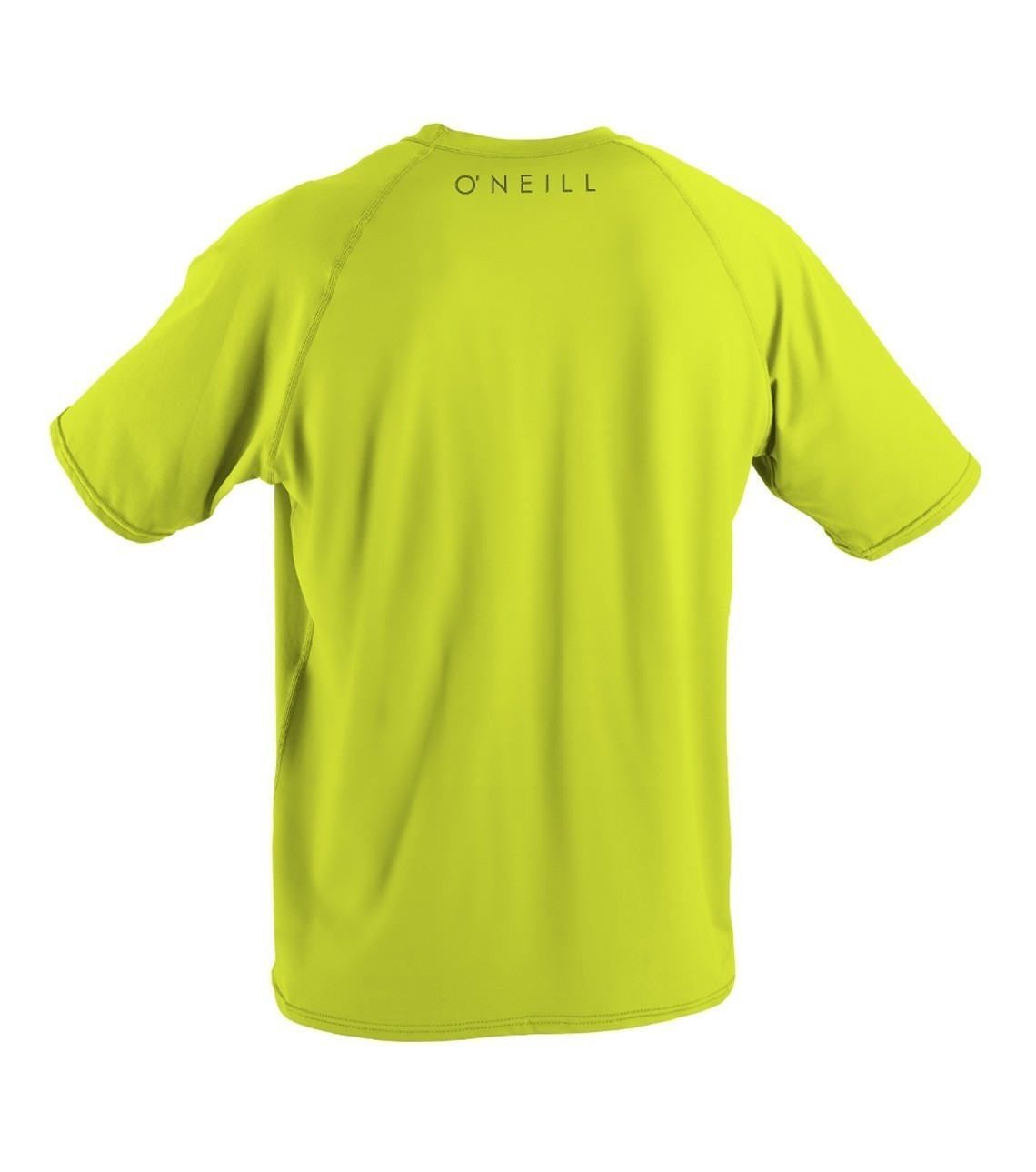 oneill men's short sleeve rash guard lime back