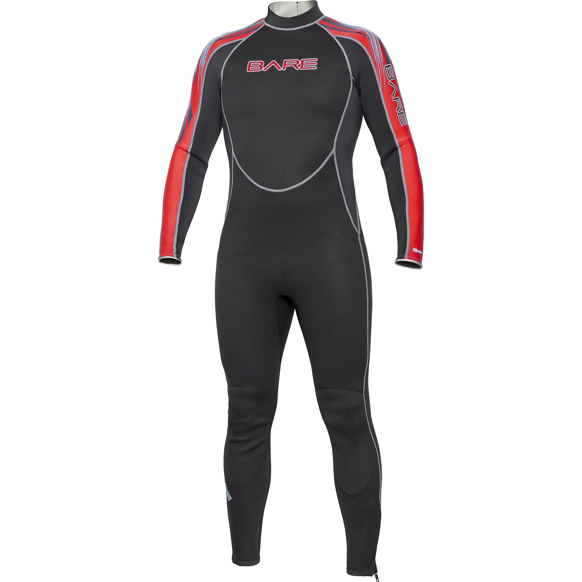 BARE 3mm Velocity Full Mens Wetsuit Red