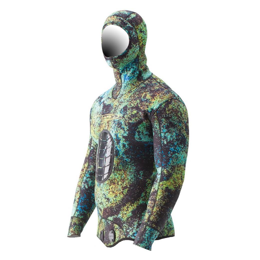 Riffe Digi-Tek Camo Wetsuit - 3.5mm Hooded Top