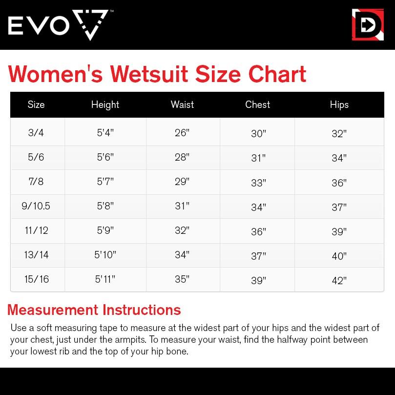 EVO Elite Women's Size Chart