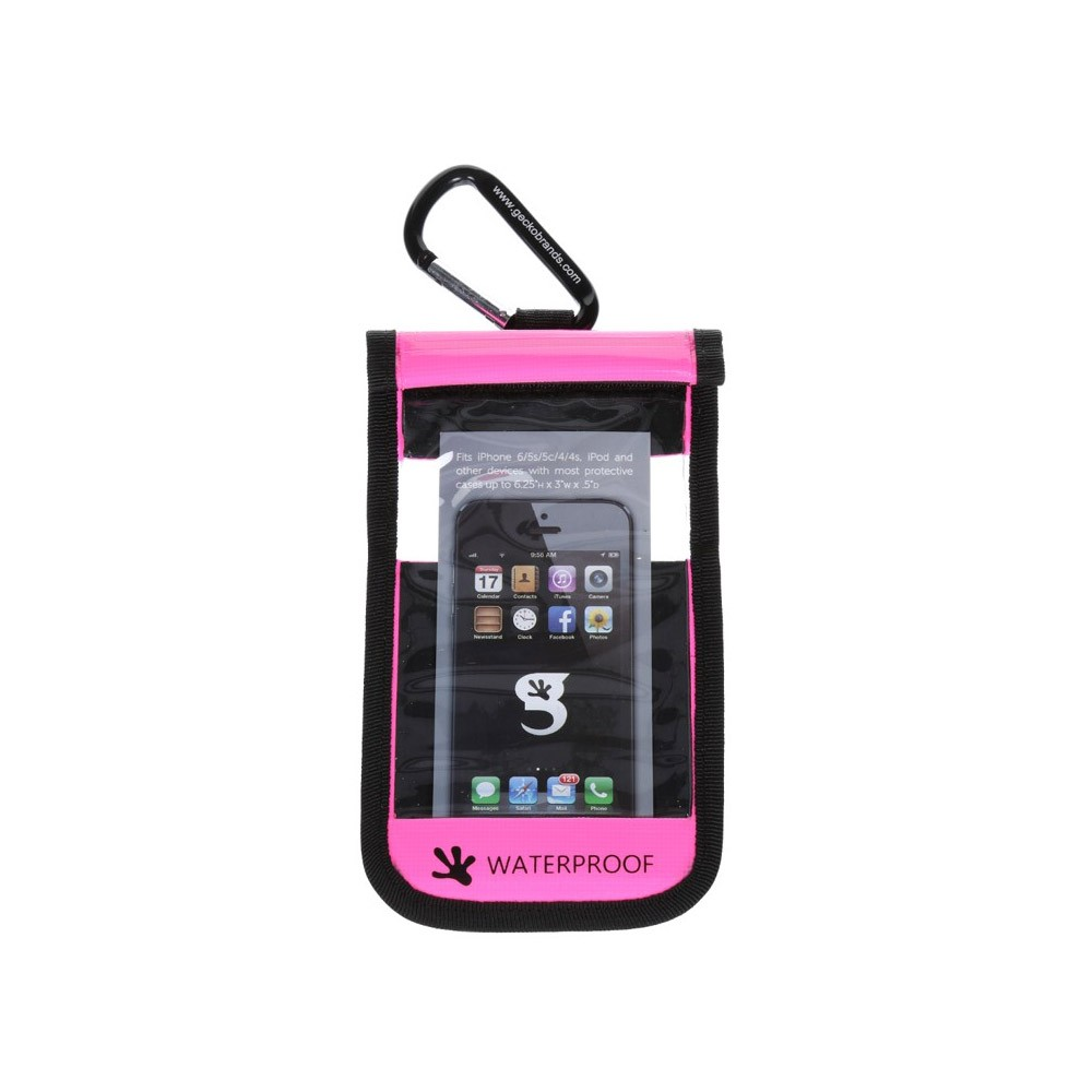 Gecko iPhone Drybag Pink - Front