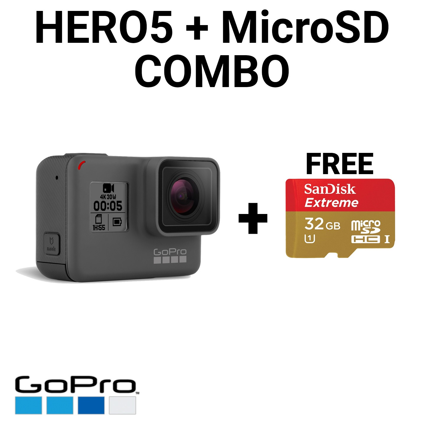 GoPro Hero5 Black with FREE 32GB MicroSD Card Combo Package