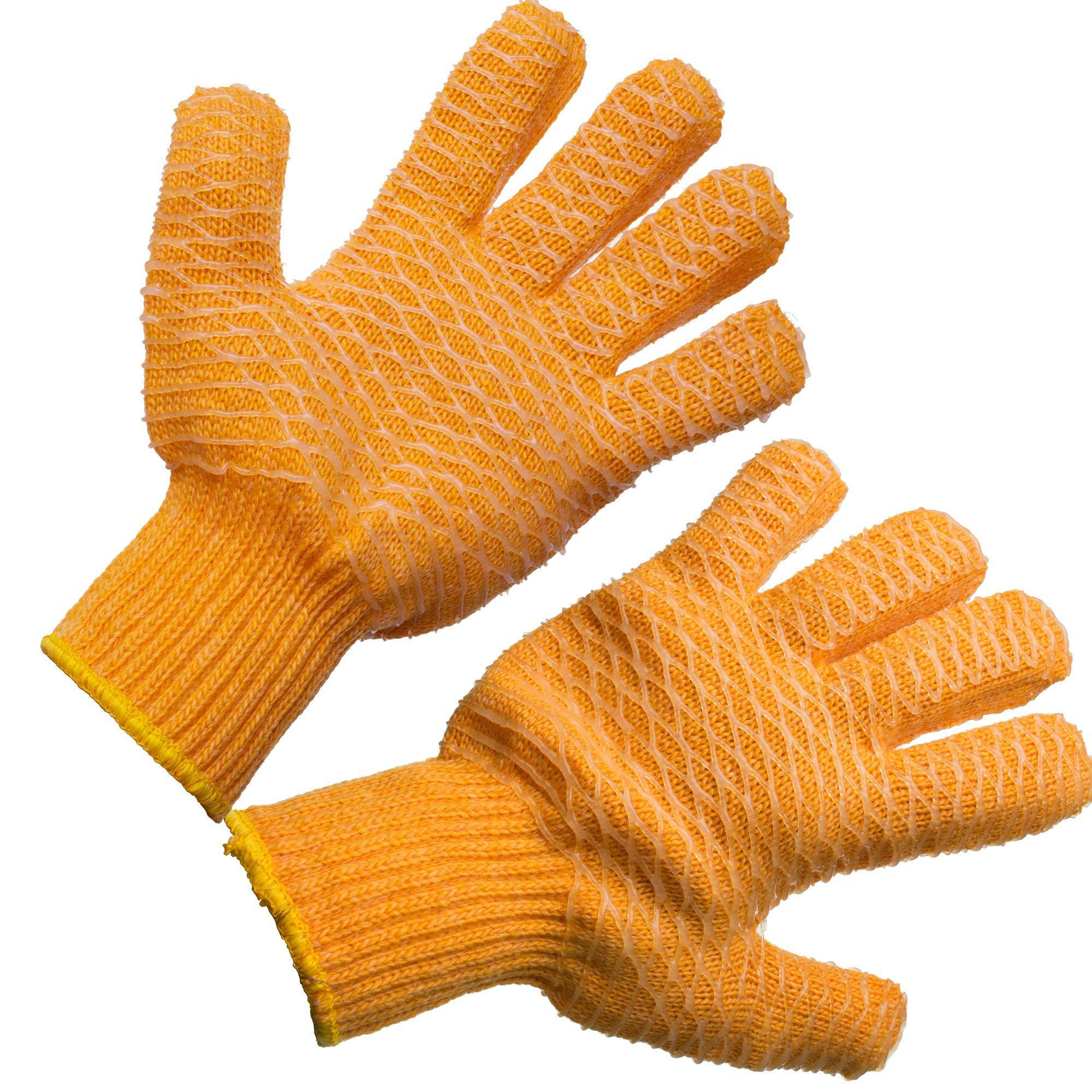 orange lobstering gloves