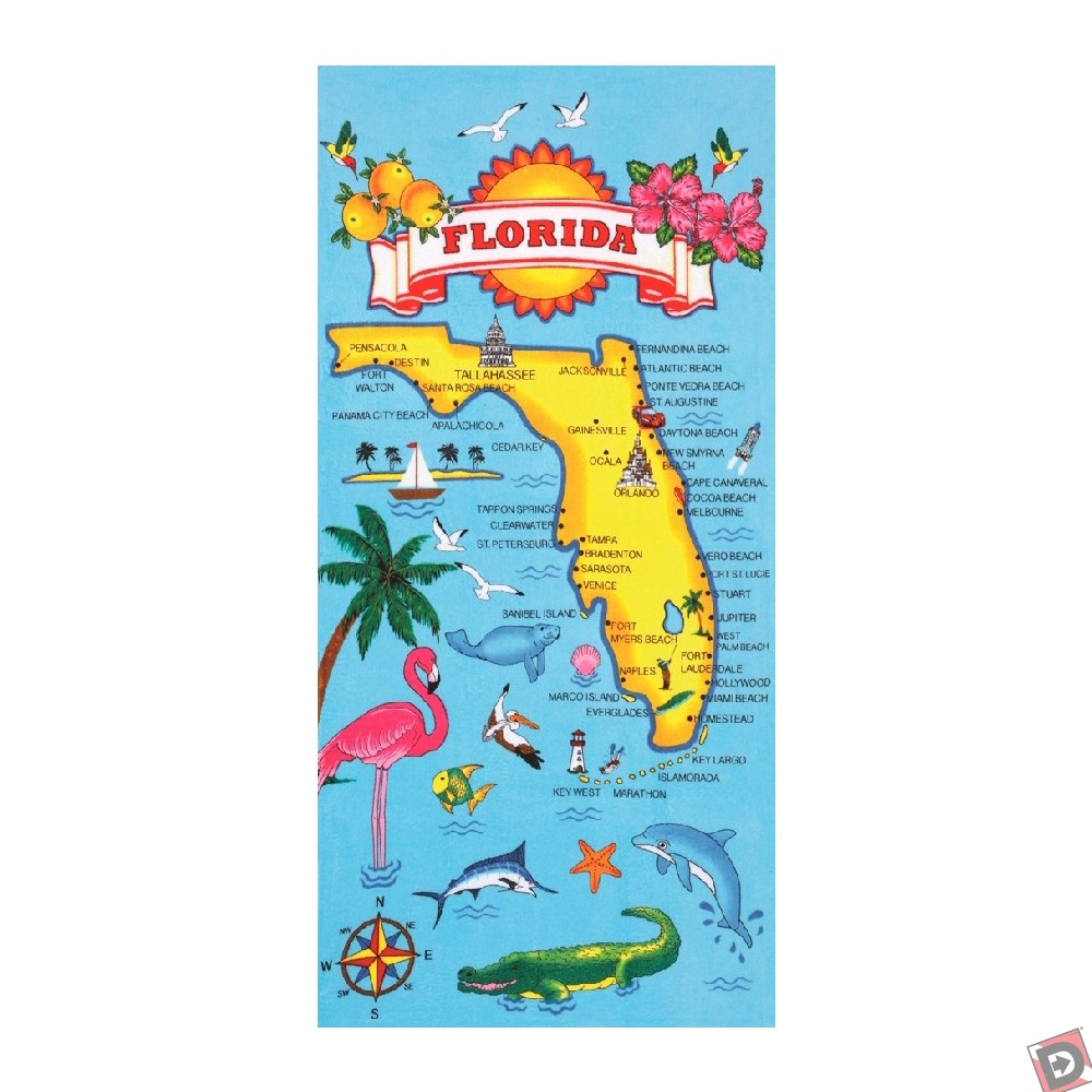 Florida Map Beach Towel - Florida map beach