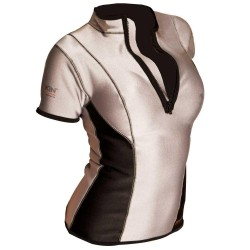 Image from Sharkskin Womens Zip Front Short Sleeve Top