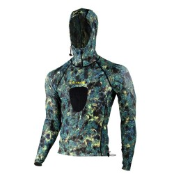 Image from Tilos Brown Camo Hooded Spearfishing Lycra Top
