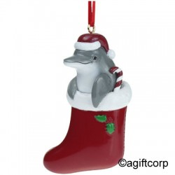 Image from American Gift Corp Tree Ornament - Dolphin in Stocking