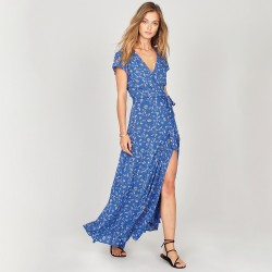 Image from Amuse Society Summer Safari Wrap Dress (Women's) - Blue