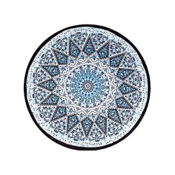 Image from Dohler Round Indiana White Cotton Velour Beach Towel