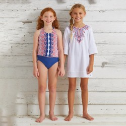 Image from Cabana Life Moroccan Mosaic UPF 50+ Swimsuit and Cover Up Set (Girls')