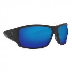 Image from Costa Cape 580P Rectangular Polarized Polycarbonate Sunglasses - Matte Black Ultra / Blue Mirror