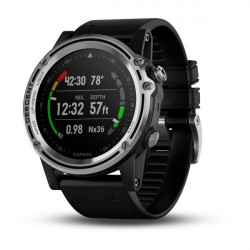 Image from Garmin Descent Mk1 Steel Bezel GPS Compact Wrist Dive Computer and Fitness Smartwatch - Silver Sapphire with Black Band
