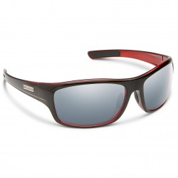 Image from Suncloud Cover Polarized Polycarbonate Sunglasses (Men's) - Black Red/Silver Mirror