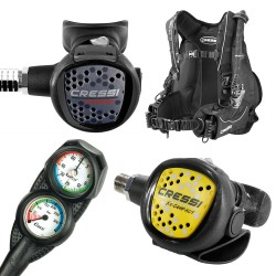 Image from Cressi Ultralight BCD SCUBA Package with MC9 Compact Regulator, Compact Octo, and Mini 2 Gauge Console