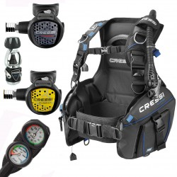 Image from Cressi AquaPro+ BCD Scuba Package with MC9 Compact Regulator, Octo, and Mini C2 Gauge Console