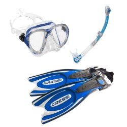 Image from Cressi Multipurpose Snorkel Set with Blue Big Eyes Evolution Mask, Beta Semi-Dry Snorkel, and Frog Plus Fins