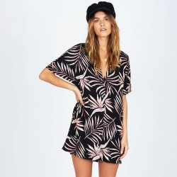 Image from Amuse Society Bird in Paradise Tunic-Length Button-Down Shirt Dress (Women's) - Black