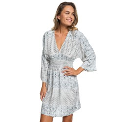 Image from Roxy Free Mind Temple Kimono Long-Sleeve Dress (Women's) Marshmellow