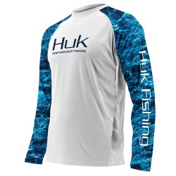 Image from Huk Elements Double Header Vented Long-Sleeve Performance Shirt (Men's) - White