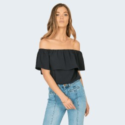 Image from Amuse Society Between The Lines Woven Top (Women's) Solid Black