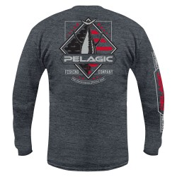 Image from PELAGIC Patriot Tuna Long-Sleeve Shirt (Men's) Heather Charcoal