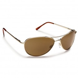 Image from Suncloud Patrol Polarized Polycarbonate Aviator Sunglasses (Men's) Gold Brown