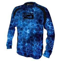 Image from PELAGIC VaporTek Hexed UPF 50+ Long-Sleeve Performance Shirt (Boys') Blue