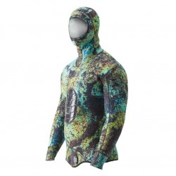 Image from Riffe Digi-Tek Camo Wetsuit - 3.5mm Hooded Top