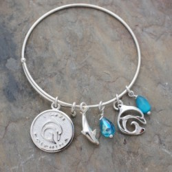 "Image from Big Blue ""I Love Dolphins"" Adjustable Charm Bracelet"