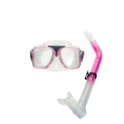 Image from EVO Drift Dual-Lens Mask and Semi-Dry Snorkel Combo - Pink