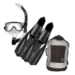 Image from EVO Intermediate Snorkel Set with Drift Purge Mask, Semi-Dry Snorkel, Mares Manta Full Foot Fins and Gear Bag