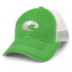 Image from Costa Mesh Adjustable Velcro Trucker Hat (Men's) - Spring Green/White