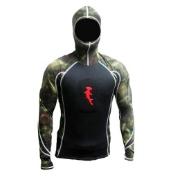 Image from Hammerhead 1MM Ambush Long-Sleeved Spearfishing Hooded Rashguard with Loading Pad (Men's)