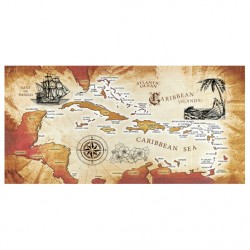 Image from Dohler Caribbean Sea Map Cotton Velour Beach Towel