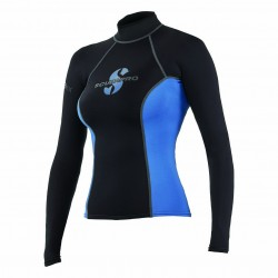 Image from ScubaPro T-Flex UPF 80 Long-Sleeve Rashguard (Women's) - Black/Blue